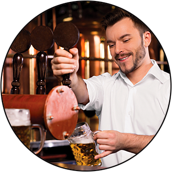 picture of bartender pouring beer