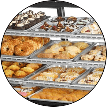 picture of commercial restaurant kitchen non-refrigerated display case or merchandiser