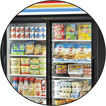 picture of full-size, reach-in commercial refrigerator display merchandiser