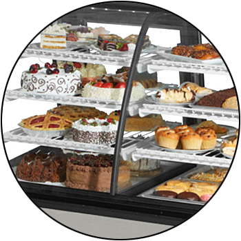 picture of closed, refrigerated food display merchandiser